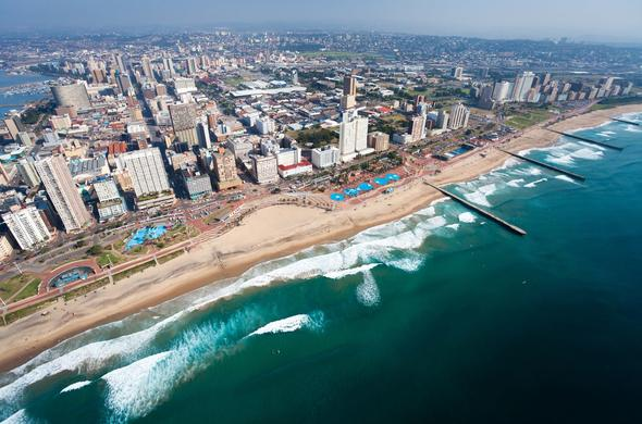 An aerial view of the Durban beachfront known as the Golden Mile.
