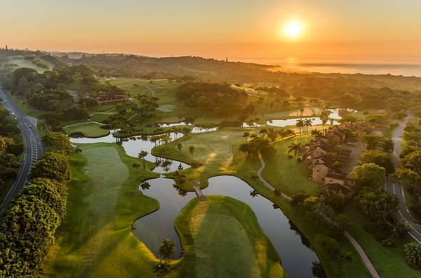 Sunsetting over San Lameer Resort Hotel & Spa golf course.