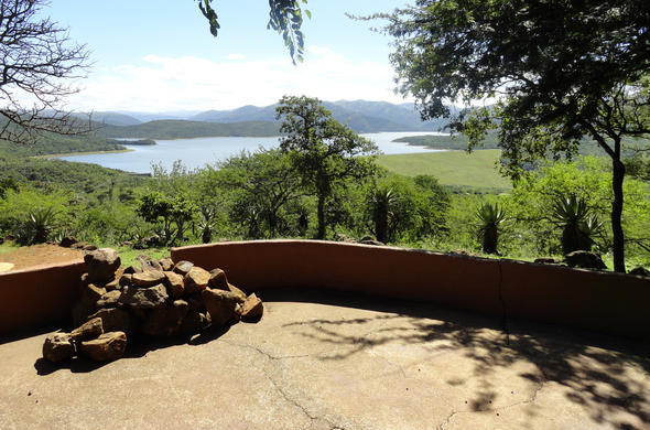 View of the lake from Shakaland Hotel.